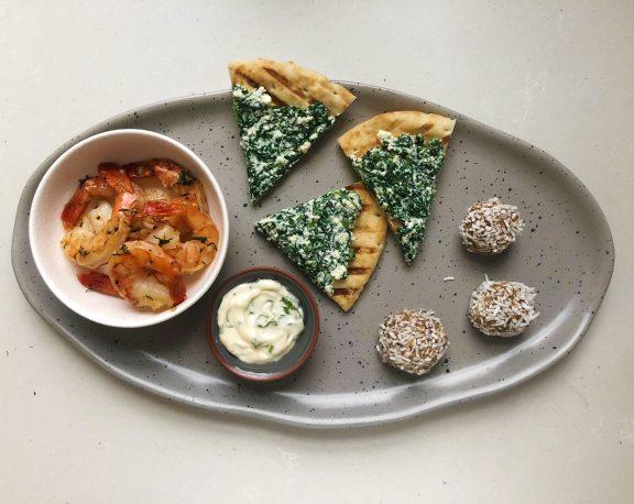 Dill and Lemon Shrimp, SpanakoPITA and Oat and Almond Truffles display image