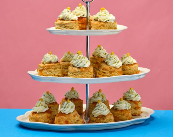 Cheddar and Corn Scone with Herbed Cream Cheese display image
